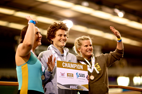 Shoreham's Charlotte Pigg taking the Gold Medal at the British Rowing Indoor Championships 2015 - credit Naomi Baker
